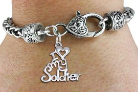 """<bR>  WHOLESALE ARMED FORCES CHARM BRACELET <BR>                     EXCLUSIVELY OURS!! <BR>                AN ALLAN ROBIN DESIGN!! <BR>          CADMIUM, LEAD & NICKEL FREE!! <BR>        W1504SB - BEAUTIFUL SILVER TONE  <BR>  """"I LOVE MY SOLDIER"""" CHARM & HEART CLASP <BR>      BRACELET FROM $4.64 TO $8.75 �2013"""
