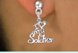 """<br> WHOLESALE ARMED FORCES EARRINGS <bR>                 EXCLUSIVELY OURS!! <BR>            AN ALLAN ROBIN DESIGN!! <BR>      CADMIUM, LEAD & NICKEL FREE!! <BR>    W1504SE - BEAUTIFUL SILVER TONE <Br>  """"I LOVE MY SOLDIER"""" CHARM EARRINGS <BR>          FROM $3.65 TO $8.40 �2013"""