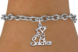 "<br> WHOLESALE ARMED FORCES FASHION BRACELET <bR>                    EXCLUSIVELY OURS!!<BR>               AN ALLAN ROBIN DESIGN!!<BR>      CLICK HERE TO SEE 1000+ EXCITING<BR>            CHANGES THAT YOU CAN MAKE!<BR>         CADMIUM, LEAD & NICKEL FREE!!<BR>     W1504SB - BEAUTIFUL SILVER TONE <Br> ""I LOVE MY SOLDIER"" CHARM & BRACELET <BR>             FROM $4.50 TO $8.35 �2013"
