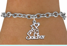 """<br> WHOLESALE ARMED FORCES FASHION BRACELET <bR>                    EXCLUSIVELY OURS!!<BR>               AN ALLAN ROBIN DESIGN!!<BR>      CLICK HERE TO SEE 1000+ EXCITING<BR>            CHANGES THAT YOU CAN MAKE!<BR>         CADMIUM, LEAD & NICKEL FREE!!<BR>     W1504SB - BEAUTIFUL SILVER TONE <Br> """"I LOVE MY SOLDIER"""" CHARM & BRACELET <BR>             FROM $4.50 TO $8.35 �2013"""