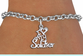 """<br> WHOLESALE ARMED FORCES FASHION BRACELET <bR>                    EXCLUSIVELY OURS!!<BR>               AN ALLAN ROBIN DESIGN!!<BR>      CLICK HERE TO SEE 1000+ EXCITING<BR>            CHANGES THAT YOU CAN MAKE!<BR>         CADMIUM, LEAD & NICKEL FREE!!<BR>     W1504SB - BEAUTIFUL SILVER TONE <Br> """"I LOVE MY SOLDIER"""" CHARM & BRACELET <BR>             FROM $4.15 TO $8.00 �2013"""