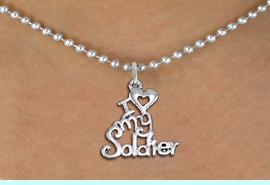 """<br>WHOLESALE ARMED FORCES JEWELRY <bR>                   EXCLUSIVELY OURS!! <BR>              AN ALLAN ROBIN DESIGN!! <BR>     CLICK HERE TO SEE 1000+ EXCITING <BR>           CHANGES THAT YOU CAN MAKE! <BR>        CADMIUM, LEAD & NICKEL FREE!! <BR>     W1504SN - BEAUTIFUL SILVER TONE <BR>    """"I LOVE MY SOLDIER"""" CHARM & NECKLACE <BR>             FROM $4.85 TO $8.30 �2013"""