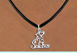 """<br>WHOLESALE ARMED FORCES JEWELRY <bR>                   EXCLUSIVELY OURS!! <BR>              AN ALLAN ROBIN DESIGN!! <BR>     CLICK HERE TO SEE 1000+ EXCITING <BR>           CHANGES THAT YOU CAN MAKE! <BR>        CADMIUM, LEAD & NICKEL FREE!! <BR>     W1504SN - BEAUTIFUL SILVER TONE <BR>    """"I LOVE MY SOLDIER"""" CHARM & NECKLACE <BR>             FROM $4.50 TO $8.35 �2013"""