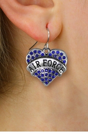 "<BR>    LEAD, NICKEL & CADMIUM FREE!! <BR>  W1477SE - SILVER TONE ""AIR FORCE"" <BR> BLUE CRYSTAL HEART CHARM EARRINGS <BR>                    $12.68 EACH �2013"
