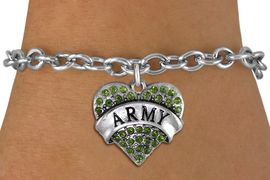 """<BR>  WHOLESALE ARMY BRACELET JEWELRY <bR>                EXCLUSIVELY OURS!! <Br>           AN ALLAN ROBIN DESIGN!! <BR>  CLICK HERE TO SEE 1000+ EXCITING <BR>        CHANGES THAT YOU CAN MAKE! <BR>     LEAD, NICKEL & CADMIUM FREE!! <BR> W1480SB - SILVER TONE """"ARMY"""" GREEN <BR>    CRYSTAL HEART CHARM & BRACELET <BR>         FROM $5.40 TO $9.85 �2013"""