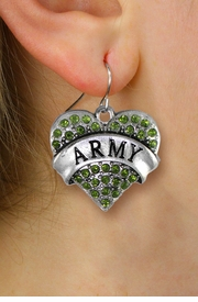 "<BR>         LEAD, NICKEL & CADMIUM FREE!! <BR> W1480SE - SILVER TONE ""ARMY"" GREEN <BR>    CRYSTAL HEART CHARM EARRINGS <BR>                     $12.68 EACH �2013"
