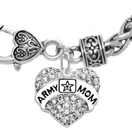 """<Br>              WHOLESALE  ARMY MOM JEWELRY  <BR>                         AN ALLAN ROBIN DESIGN!! <Br>                   CADMIUM, LEAD & NICKEL FREE!!  <Br>          W1808B1  """"ARMY MOM"""" HEART  <BR>  CHARM ON HEART LOBSTER CLASP BRACELET <BR>                    FROM $7.50 TO $9.50 �2016"""