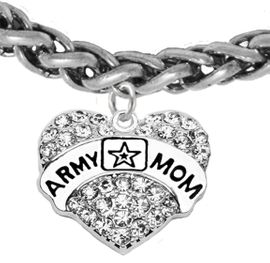 """<Br>              WHOLESALE  ARMY MOM JEWELRY  <BR>                         AN ALLAN ROBIN DESIGN!! <Br>                   CADMIUM, LEAD & NICKEL FREE!!  <Br> W1808B17  """"ARMY MOM"""" HEART  <BR>  CHARM ON HEART LOBSTER CLASP BRACELET <BR>            FROM $7.50 TO $9.50 �2016"""