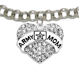 """<Br>              WHOLESALE  ARMY MOM JEWELRY  <BR>                         AN ALLAN ROBIN DESIGN!! <Br>                   CADMIUM, LEAD & NICKEL FREE!!  <Br> W1808B2  """"ARMY MOM"""" HEART  <BR>  CHARM ON LOBSTER CLASP ADJUSTABLE BRACELET <BR>            FROM $7.50 TO $9.50 �2016"""