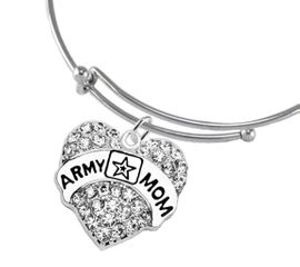 """<Br>              WHOLESALE  ARMY MOM JEWELRY  <BR>                         AN ALLAN ROBIN DESIGN!! <Br>                   CADMIUM, LEAD & NICKEL FREE!!  <Br> W1808B9  """"ARMY MOM"""" HEART  <BR>  CHARM ON MIRACLE WIRE ADJUSTABLE BRACELET <BR>            FROM $7.50 TO $9.50 �2016"""