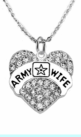 """<Br>              WHOLESALE  ARMY WIFE JEWELRY  <BR>                         AN ALLAN ROBIN DESIGN!! <Br>                   CADMIUM, LEAD & NICKEL FREE!!  <Br>                  W1809N1  """"ARMY WIFE"""" HEART  <BR>      CHARM ON HEART ADJUSTABLE NECKLACE <BR>                          FROM $7.50 TO $9.50 �20"""
