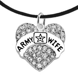 """<Br>              WHOLESALE  ARMY WIFE JEWELRY  <BR>                         AN ALLAN ROBIN DESIGN!! <Br>                   CADMIUM, LEAD & NICKEL FREE!!  <Br>                      W1809N3 """"ARMY WIFE"""" HEART  <BR>  CHARM ON BLACK SUEDE ADJUSTABLE NECKLACE <BR>                          FROM $7.50 TO $9.50 �2016"""