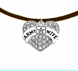 """<Br>            WHOLESALE  ARMY WIFE JEWELRY  <BR>                         AN ALLAN ROBIN DESIGN!! <Br>                   CADMIUM, LEAD & NICKEL FREE!!  <Br>                W1809N4 """"ARMY WIFE"""" HEART  <BR>CHARM, ADJUSTABLE BROWN SUEDE NECKLACE <BR>                    FROM $7.50 TO $9.50 �2016"""