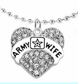 """<Br>             WHOLESALE  ARMY WIFE JEWELRY  <BR>                         AN ALLAN ROBIN DESIGN!! <Br>                   CADMIUM, LEAD & NICKEL FREE!!  <Br>                           W1809N5 """"ARMY WIFE"""" HEART  <BR>CHARM, ADJUSTABLE  BALL CHAIN NECKLACE <BR>                      FROM $7.50 TO $9.50 �2016"""