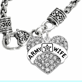 """<Br>             WHOLESALE  ARMY WIFE JEWELRY  <BR>                         AN ALLAN ROBIN DESIGN!! <Br>                   CADMIUM, LEAD & NICKEL FREE!!  <Br>                W1809N10  """"ARMY WIFE"""" HEART  <BR>                    CHARM ON HEART NECKLACE <BR>                     FROM $7.50 TO $9.50 �2016"""