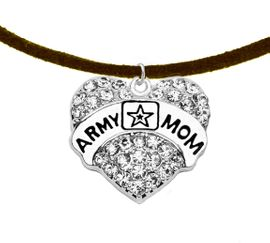 """<Br>              WHOLESALE  ARMY MOM JEWELRY  <BR>                         AN ALLAN ROBIN DESIGN!! <Br>                   CADMIUM, LEAD & NICKEL FREE!!  <Br> W1808N4  """"ARMY MOM"""" HEART  <BR>  CHARM ON HEART ADJUSTABLE NECKLACE <BR>            FROM $7.50 TO $9.50 �2016"""