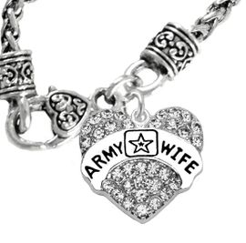 "<Br>             WHOLESALE  ARMY WIFE JEWELRY  <BR>                         AN ALLAN ROBIN DESIGN!! <Br>                   CADMIUM, LEAD & NICKEL FREE!!  <Br>                W1809N10  ""ARMY WIFE"" HEART  <BR>                    CHARM ON HEART NECKLACE <BR>                     FROM $7.50 TO $9.50 �2016"