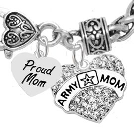 "<Br>              WHOLESALE  ARMY MOM JEWELRY  <BR>                         AN ALLAN ROBIN DESIGN!! <Br>                   CADMIUM, LEAD & NICKEL FREE!!  <Br>             W320-1808B1  ""PROUD MOM"" AND A<BR>          ""ARMY MOM"" HEART  CHARM ON HEART<BR>                         LOBSTER CLASP BRACELET <BR>                                       $9.50 �2016"
