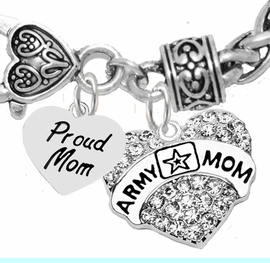 """<Br>              WHOLESALE  ARMY MOM JEWELRY  <BR>                         AN ALLAN ROBIN DESIGN!! <Br>                   CADMIUM, LEAD & NICKEL FREE!!  <Br>             W320-1808B1  """"PROUD MOM"""" AND A<BR>          """"ARMY MOM"""" HEART  CHARM ON HEART<BR>                         LOBSTER CLASP BRACELET <BR>                                       $9.50    &#169;2016"""