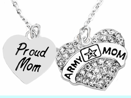 """<Br>              WHOLESALE  ARMY MOM JEWELRY  <BR>                         AN ALLAN ROBIN DESIGN!! <Br>                   CADMIUM, LEAD & NICKEL FREE!!  <Br>                     W320-1808N1  """"PROUD MOM< ARMY MOM"""" HEARTS  <BR>  CHARMS ON HEART ADJUSTABLE NECKLACE <BR>                                       $9.50 �2016"""