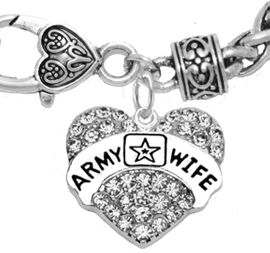 """<Br>              WHOLESALE  ARMY WIFE JEWELRY  <BR>                         AN ALLAN ROBIN DESIGN!! <Br>                   CADMIUM, LEAD & NICKEL FREE!!  <Br>                   W1809B1  """"ARMY WIFE"""" HEART  <BR>  CHARM ON HEART LOBSTER CLASP BRACELET <BR>            FROM $7.50 TO $9.50 �2016"""