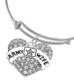 """<Br>              WHOLESALE  ARMY WIFE JEWELRY  <BR>                         AN ALLAN ROBIN DESIGN!! <Br>                   CADMIUM, LEAD & NICKEL FREE!!  <Br>                   W1809B17  """"ARMY WIFE"""" HEART  <BR>              CHARM ON WHEAT CHAIN BRACELET <BR>                        FROM $7.50 TO $9.50 �2016"""