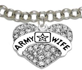 """<Br>              WHOLESALE  ARMY WIFE JEWELRY  <BR>                         AN ALLAN ROBIN DESIGN!! <Br>                   CADMIUM, LEAD & NICKEL FREE!!  <Br>                   W1809B2  """"ARMY WIFE"""" HEART  <BR>              CHARM ON ADJUSTABLE CHAIN BRACELET <BR>                        FROM $7.50 TO $9.50 �2016"""