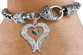 <BR>      WHOLESALE AUTISM JEWELRY<bR>               EXCLUSIVELY OURS!! <BR>             LEAD & NICKEL FREE!! <BR>W19700B - GUARDIAN ANGEL WINGS <Br>AND AUTISM AWARENESS HEART <BR>CHARM & HEART CLASP BRACELET <BR>     FROM $6.19 TO $13.75 �2012