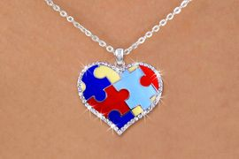 "<BR>      WHOLESALE AUTISM JEWELRY<BR>             EXCLUSIVELY OURS!! <BR> W20113N - ""PUZZLE PIECE HEART"" <Br>   WITH AUSTRIAN CRYSTAL BORDER <BR>      AUTISM AWARENESS NECKLACE <Br>     FROM $4.50 TO $10.00 �2013"