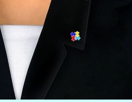 """<BR>           WHOLESALE AUTISM JEWELRY<br>     LEAD, NICKEL AND CADMIUM FREE<br>                      EXCLUSIVELY OURS!<bR>                AN ALLAN ROBIN DESIGN!<br>      W9744P - AUTISM """"PUZZLE PIECE <br>         BLOCK"""" AWARENESS TACK PIN<BR>            &#169;2010 FROM $3.68 EACH"""