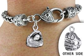 <br>          WHOLESALE BALL BRACELET<bR>                  EXCLUSIVELY OURS!!<BR>            AN ALLAN ROBIN DESIGN!! <BR>      CADMIUM, LEAD & NICKEL FREE!! <BR>     W1406SB - DETAILED SILVER TONE <BR> BASEBALL / SOFTBALL MITT CHARM <BR>  & HEART LOBSTER CLASP BRACELET <BR>          FROM $3.94 TO $8.75 �2013