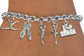 <BR>      WHOLESALE BALLETJEWELRY<Br>                EXCLUSIVELY OURS!!<Br>          AN ALLAN ROBIN DESIGN!!<Br>               LEAD & NICKEL FREE!!<Br>     W14354B - DANCE THEME FIVE<BR>CHARM BRACELET FROM $7.31 TO $16.25