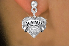 "<BR>         SCHOOL BAND EARRINGS<bR>              EXCLUSIVELY OURS!! <Br>         AN ALLAN ROBIN DESIGN!! <BR>   LEAD, NICKEL & CADMIUM FREE!! <BR> W1416SE - SILVER TONE ""BAND"" CLEAR <BR>    CRYSTAL HEART CHARM EARRINGS <BR>                   $12.38 EACH �2013"