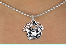 """<br>            WHOLESALE BAND JEWELRY <bR>                    EXCLUSIVELY OURS!! <BR>               AN ALLAN ROBIN DESIGN!! <BR>      CLICK HERE TO SEE 1000+ EXCITING <BR>            CHANGES THAT YOU CAN MAKE! <BR>         CADMIUM, LEAD & NICKEL FREE!! <BR>        W1485SN - DETAILED SILVER TONE <BR>    """"BAND MOM"""" MUSIC CHARM & NECKLACE <BR>              FROM $4.85 TO $8.30 �2013"""