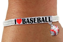 "<BR>        WHOLESALE BASEBALL BRACELET <BR>            LEAD & NICKEL FREE!! <BR> W20458B - SILVER TONE ""I LOVE BASEBALL <BR> PLATE WITH CRYSTAL BASEBALL CHARM ON <BR> ADJUSTABLE WHITE SHAMBALLA BRACELET <BR>          FROM $5.06 TO $11.25 �2013"