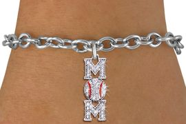 """<BR> WHOLESALE BASEBALL CHARM BRACELET <bR>                EXCLUSIVELY OURS!! <Br>           AN ALLAN ROBIN DESIGN!! <BR>  CLICK HERE TO SEE 1000+ EXCITING <BR>        CHANGES THAT YOU CAN MAKE! <BR>     LEAD, NICKEL & CADMIUM FREE!! <BR> W1473SB - SILVER TONE BASEBALL """"MOM"""" <BR>    CLEAR CRYSTAL CHARM & BRACELET <BR>         FROM $5.40 TO $9.85 �2013"""
