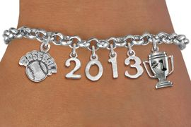 """<br>  WHOLESALE BASEBALL CHARM BRACELETS! <Br>                      EXCLUSIVELY OURS!! <Br>                 AN ALLAN ROBIN DESIGN!! <Br>                    LEAD & NICKEL FREE!! <BR>             THIS IS A PERSONALIZED ITEM <Br>     W20463B - SILVER TONE LOBSTER CLASP <BR>   """"BASEBALL"""", #1 TROPHY AND CUSTOM YEAR <BR>       BRACELET FROM $9.00 TO $20.00 �2013"""
