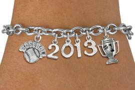 """<br>  WHOLESALE BASEBALL CHARM BRACELETS! <Br>                      EXCLUSIVELY OURS!! <Br>                 AN ALLAN ROBIN DESIGN!! <Br>                    LEAD & NICKEL FREE!! <BR>             THIS IS A PERSONALIZED ITEM <Br>     W20464B - SILVER TONE TOGGLE CLASP <BR>   """"BASEBALL"""", #1 TROPHY AND CUSTOM YEAR <BR>       BRACELET FROM $9.00 TO $20.00 �2013"""