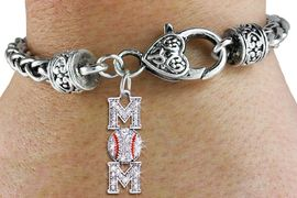 """<bR> WHOLESALE BASEBALL HEART BRACELET <BR>                EXCLUSIVELY OURS!! <BR>           AN ALLAN ROBIN DESIGN!! <BR>              LEAD & NICKEL FREE!! <BR> W1473SB - SILVER TONE BASEBALL """"MOM""""<BR> CLEAR CRYSTAL AND RED STRIPE CHARM ON <BR>      HEART LOBSTER CLASP BRACELET <Br>        FROM $5.63 TO $12.50 �2013"""