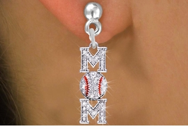 "<BR>        WHOLESALE BASEBALL JEWELRY <bR>                EXCLUSIVELY OURS!! <Br>           AN ALLAN ROBIN DESIGN!! <BR>     LEAD, NICKEL & CADMIUM FREE!! <BR> W1473SE - SILVER TONE BASEBALL ""MOM"" <BR>      CLEAR CRYSTAL CHARM EARRINGS <BR>        FROM $5.40 TO $10.45 �2013"