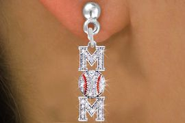 """<BR>        WHOLESALE BASEBALL JEWELRY <bR>                EXCLUSIVELY OURS!! <Br>           AN ALLAN ROBIN DESIGN!! <BR>     LEAD, NICKEL & CADMIUM FREE!! <BR> W1473SE - SILVER TONE BASEBALL """"MOM"""" <BR>      CLEAR CRYSTAL CHARM EARRINGS <BR>        FROM $5.40 TO $10.45 �2013"""