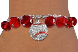 <BR>        WHOLESALE BASEBALL JEWELRY!! <bR>                   EXCLUSIVELY OURS!! <Br>              AN ALLAN ROBIN DESIGN!! <BR>        LEAD, NICKEL & CADMIUM FREE!! <BR>       W20337B - SILVER TONE BASEBALL <BR>  CRYSTAL CHARM & RED CRYSTAL TOGGLE <BR>  BRACELET FROM $9.56 TO $21.25 �2013