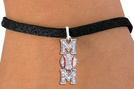 """<BR> WHOLESALE BASEBALL MOM BRACELET <bR>                EXCLUSIVELY OURS!! <Br>           AN ALLAN ROBIN DESIGN!! <BR>  CLICK HERE TO SEE 1000+ EXCITING <BR>        CHANGES THAT YOU CAN MAKE! <BR>     LEAD, NICKEL & CADMIUM FREE!! <BR> W1473SB - SILVER TONE BASEBALL """"MOM"""" <BR>    CLEAR CRYSTAL CHARM & BRACELET <BR>         FROM $5.40 TO $9.85 �2013"""