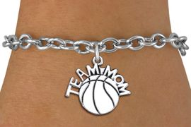 "<br> WHOLESALE BASKETBALL CHARM BRACELET <bR>                     EXCLUSIVELY OURS!! <BR>                AN ALLAN ROBIN DESIGN!! <BR>       CLICK HERE TO SEE 1000+ EXCITING <BR>             CHANGES THAT YOU CAN MAKE! <BR>          CADMIUM, LEAD & NICKEL FREE!! <BR>        W1487SB - DETAILED SILVER TONE <Br> ""TEAM MOM"" BASKETBALL CHARM & BRACELET <BR>              FROM $4.50 TO $8.35 �2013"