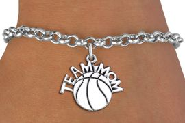 "<br> WHOLESALE BASKETBALL CHARM BRACELET <bR>                     EXCLUSIVELY OURS!! <BR>                AN ALLAN ROBIN DESIGN!! <BR>       CLICK HERE TO SEE 1000+ EXCITING <BR>             CHANGES THAT YOU CAN MAKE! <BR>          CADMIUM, LEAD & NICKEL FREE!! <BR>        W1487SB - DETAILED SILVER TONE <Br> ""TEAM MOM"" BASKETBALL CHARM & BRACELET <BR>              FROM $4.15 TO $8.00 �2013"