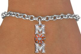 "<BR> WHOLESALE BASKETBALL CHARM BRACELET <bR>                 EXCLUSIVELY OURS!! <Br>            AN ALLAN ROBIN DESIGN!! <BR>   CLICK HERE TO SEE 1000+ EXCITING <BR>         CHANGES THAT YOU CAN MAKE! <BR>      LEAD, NICKEL & CADMIUM FREE!! <BR> W1475SB - SILVER TONE BASKETBALL ""MOM"" <BR> CLEAR & ORANGE CRYSTAL CHARM BRACELET <BR>          FROM $5.40 TO $9.85 �2013"