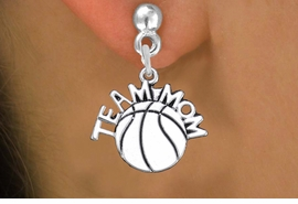 """<br>      WHOLESALE BASKETBALL EARRINGS <bR>                  EXCLUSIVELY OURS!! <BR>             AN ALLAN ROBIN DESIGN!! <BR>       CADMIUM, LEAD & NICKEL FREE!! <BR>      W1487SE - DETAILED SILVER TONE <Br> """"TEAM MOM"""" BASKETBALL CHARM EARRINGS <BR>           FROM $3.65 TO $8.40 �2013"""
