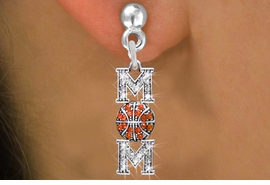 "<BR>      WHOLESALE BASKETBALL EARRINGS <bR>                 EXCLUSIVELY OURS!! <Br>            AN ALLAN ROBIN DESIGN!! <BR>      LEAD, NICKEL & CADMIUM FREE!! <BR> W1475SE - SILVER TONE BASKETBALL ""MOM"" <BR> CLEAR & ORANGE CRYSTAL CHARM EARRINGS <BR>         FROM $5.40 TO $10.45 �2013"