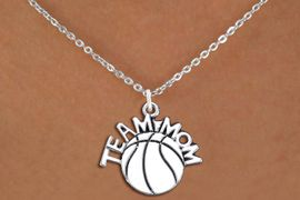 """<br>          WHOLESALE BASKETBALL JEWELRY <bR>                    EXCLUSIVELY OURS!! <BR>               AN ALLAN ROBIN DESIGN!! <BR>      CLICK HERE TO SEE 1000+ EXCITING <BR>            CHANGES THAT YOU CAN MAKE! <BR>         CADMIUM, LEAD & NICKEL FREE!! <BR>        W1487SN - DETAILED SILVER TONE <BR> """"TEAM MOM"""" BASKETBALL CHARM & NECKLACE <BR>              FROM $4.50 TO $8.35 �2013"""