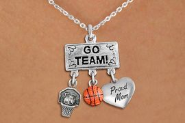 "<br> WHOLESALE BASKETBALL PROUD MOM NECKLACE<Br>               EXCLUSIVELY OURS!! <Br>          AN ALLAN ROBIN DESIGN!! <Br>             LEAD & NICKEL FREE!! <BR> W20118N - SILVER TONE ""GO TEAM!"" <BR> ""PROUD MOM"", BALL AND HOOP CHARMS <BR>         BASKETBALL THEMED PENDANT<BR>  ON LOBSTER CLASP CHAIN NECKLACE <BR>         FROM $7.85 TO $17.50 �2013"